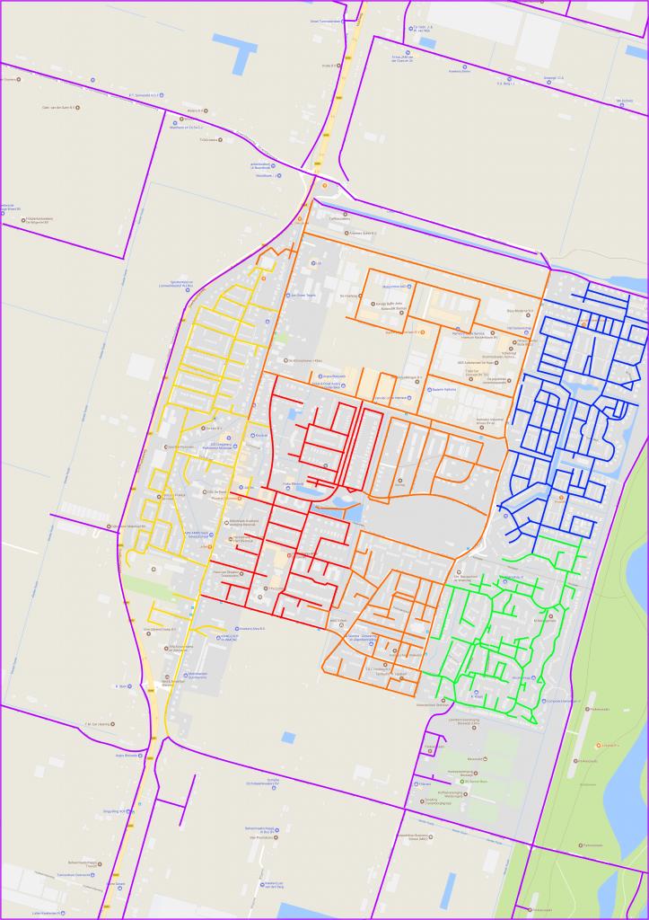 Plattegrond van Bleiswijk met wijkindeling diaconie.